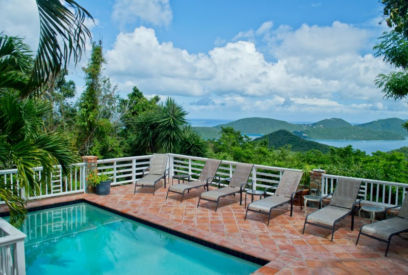Casa Luna Villa, St John pool, view and deck