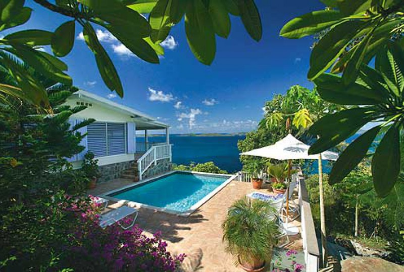 St John rental villa SeaCruz pool and view