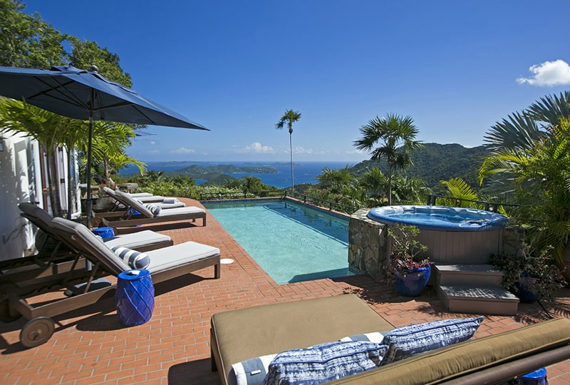 Pool, view, spa St John rental villa Mystic Ridge, St John USVI