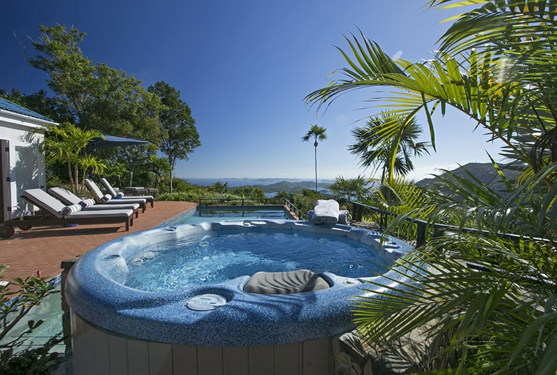 Mystic Ridge spa and pool, St John villa rental