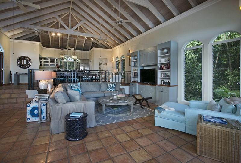Living room St John rental villa Mystic Ridge, St John USVI