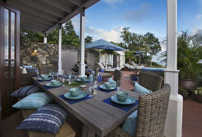 Outdoor dining area St John rental villa Mystic Ridge, St John USVI