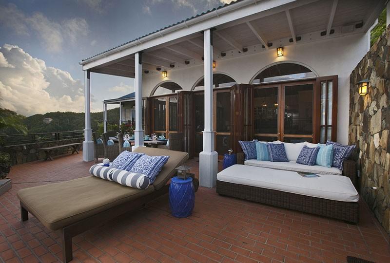 Outdoor seating St John rental villa Mystic Ridge, St John USVI