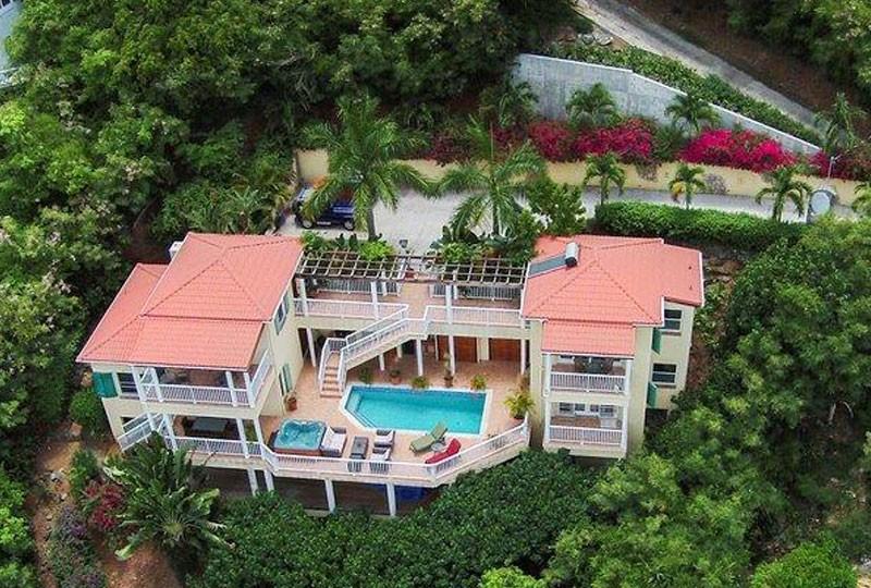 St John Villa Madeira - aerial view pool