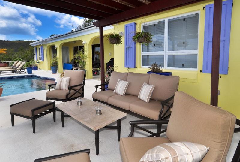 St John rental villa, Daffodil Villa cabana seating 2