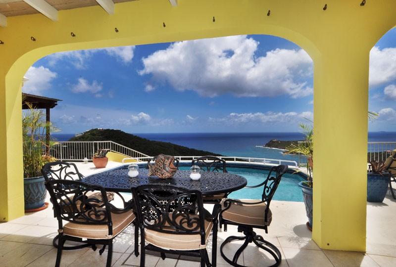 St John rental villa, Daffodil Villa seating