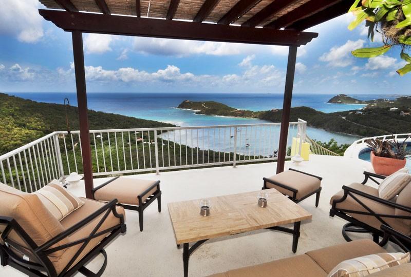 St John rental villa, Daffodil Villa cabana view