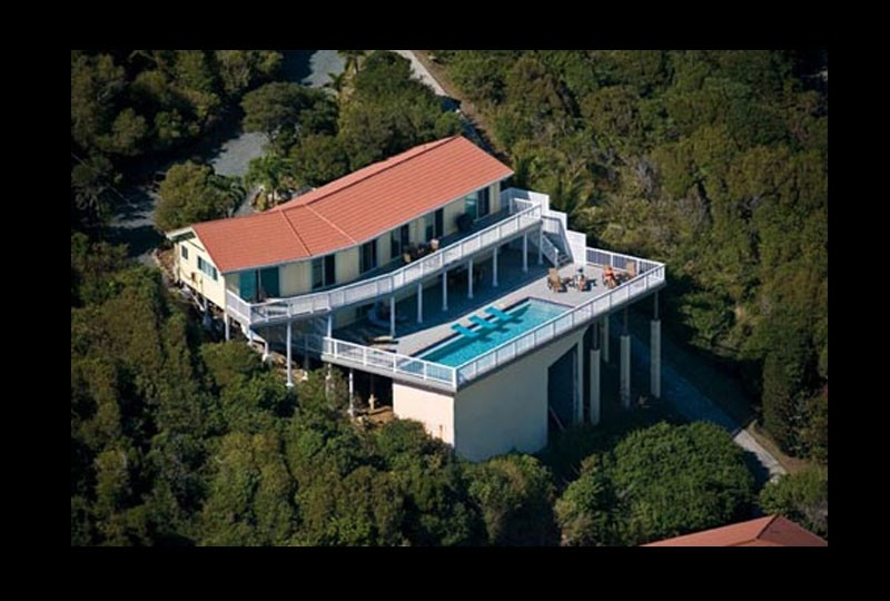 St John villa rental, Rendezview. USVI Aerial photo with deck and pool