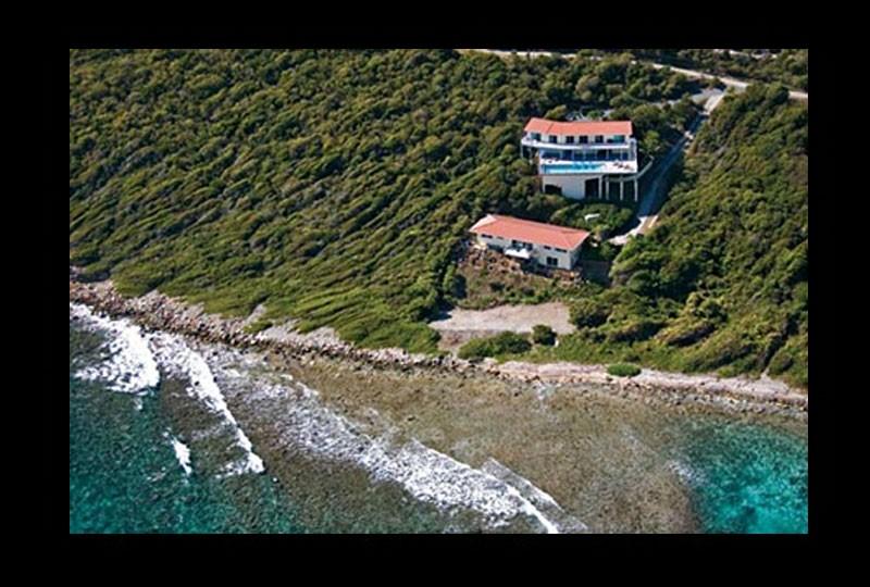 St John villa rental, Rendezview. USVI Aerial photo with water view