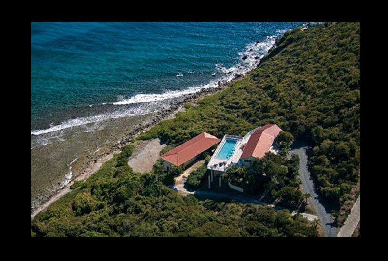 St John villa rental, Rendezview. USVI Aerial photo with water view