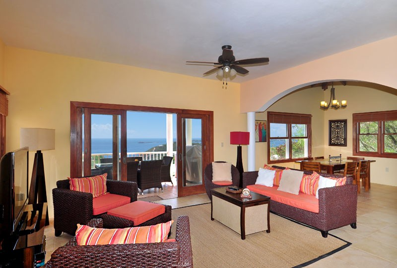St John rental Villa Madeira living room with view of US Virgin Islands