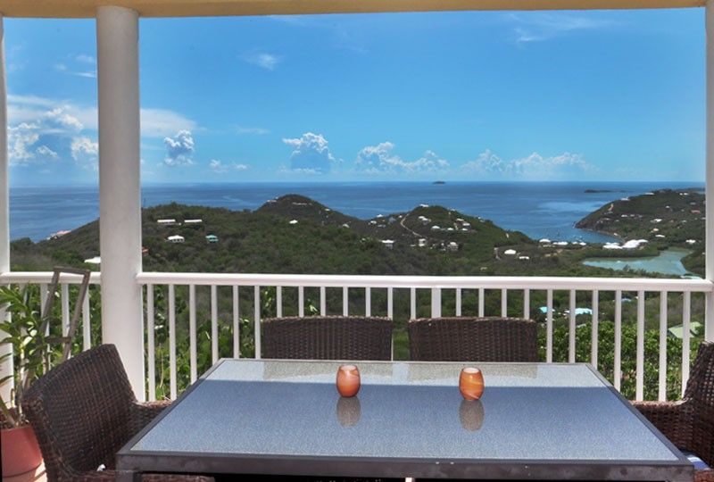St John rental Villa Madeira - porch view dining