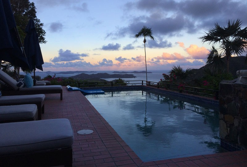 St John rental villa Mystic Ridge pool and sunset view