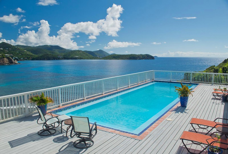 Rendezview Villa, St John pool, deck and view over Hart Bay