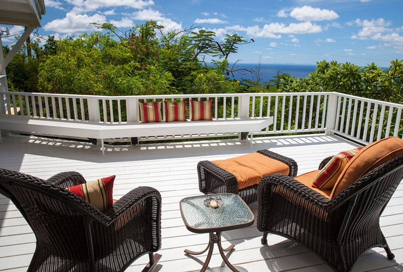 Sea Dream Villa, St John deck chairs and view