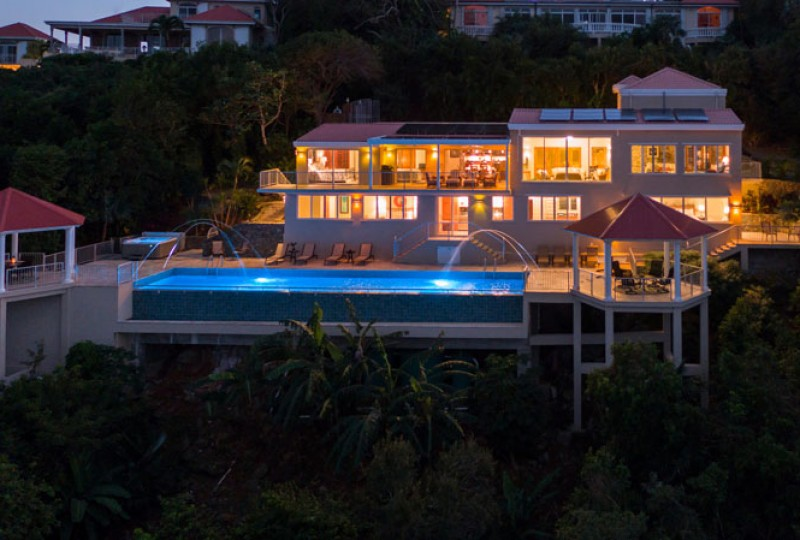 Great Escape villa night aerial view