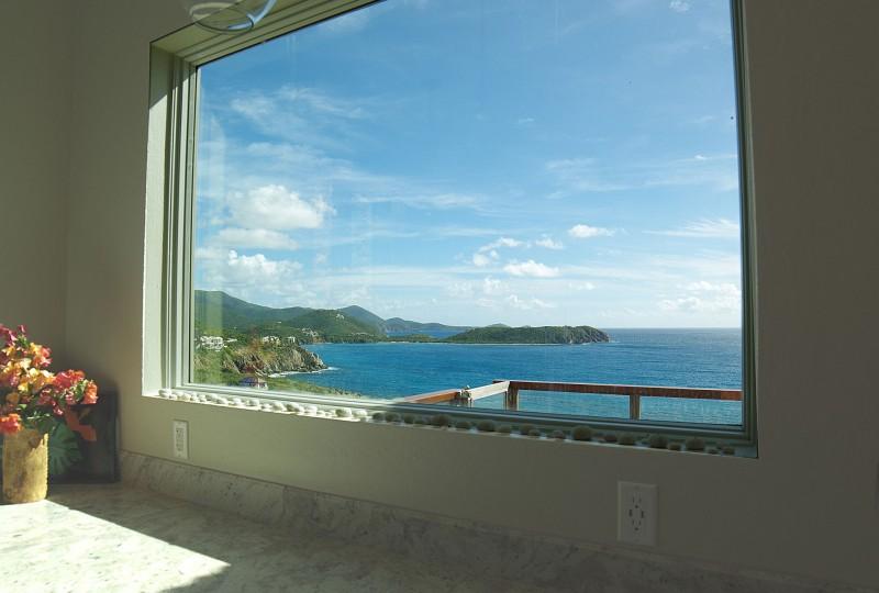 Oceanport Villa St John kitchen window view