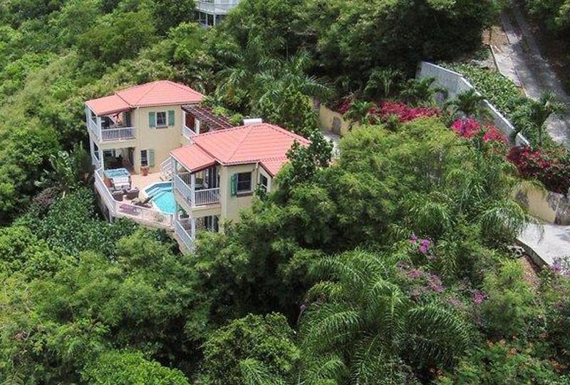 St John Villa Madeira - aerial view driveway