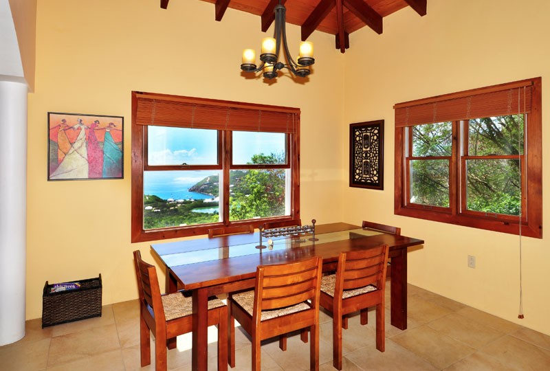 St John rental Villa Madeira - Dining room and view