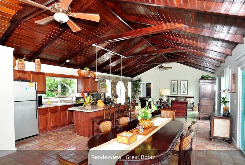 Rendezview St John villa rentals, great room