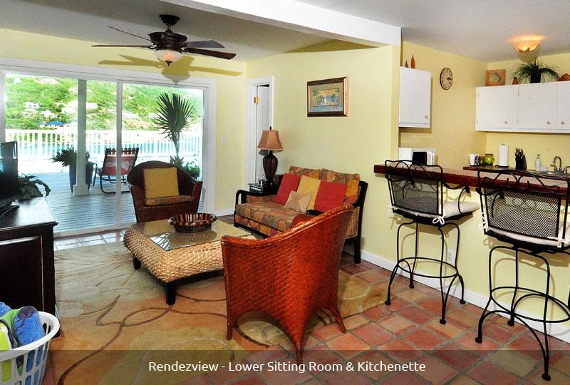 Rendezview villa kitchenette and living room
