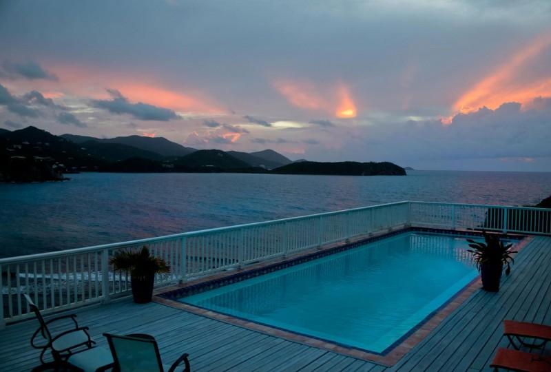 Rendezview Villa, St John pool, deck and sunrise view over Hart Bay
