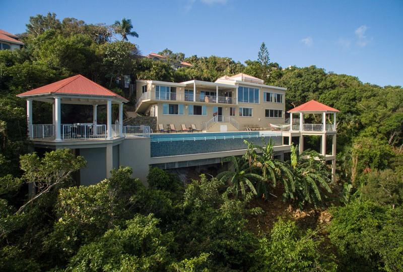 Great Escape villa exterior drone view