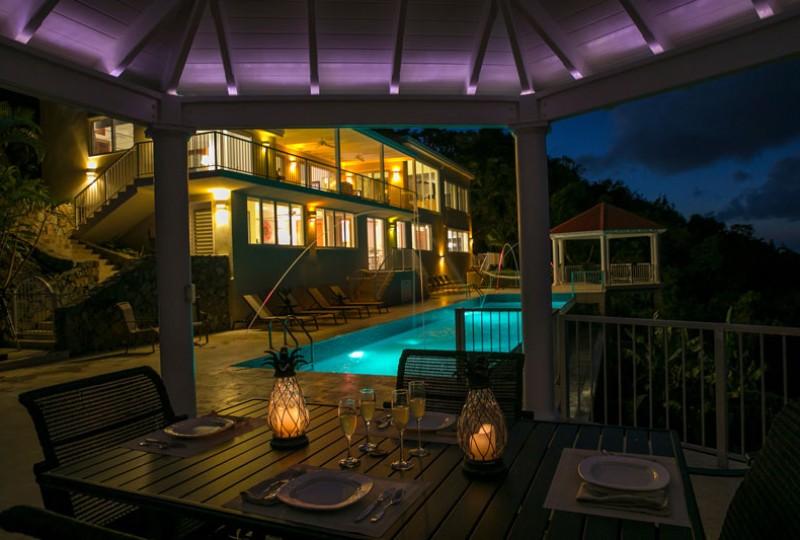 Great Escape villa night pool
