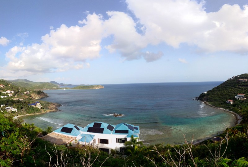 Oceanport Villa, St John aerial panoramic view