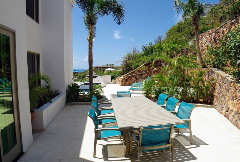 Oceanport Villa, St John outdoor dining