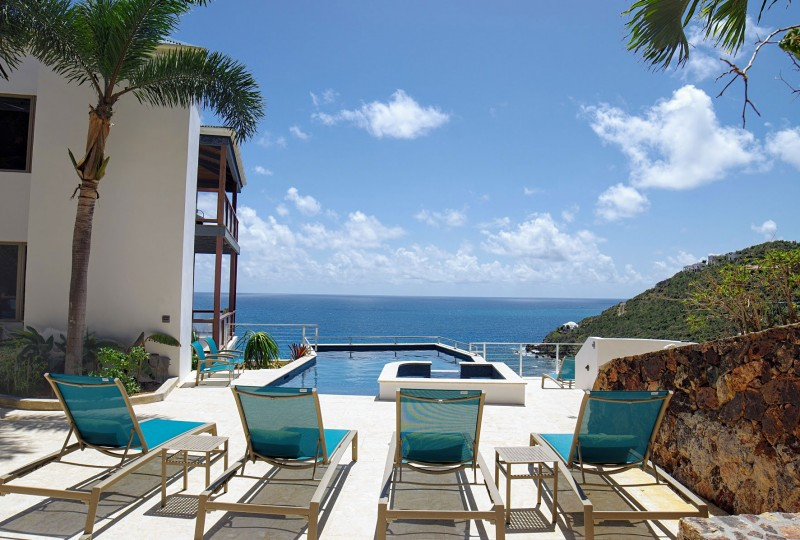 Oceanport Villa, St John pool deck and Hart Bay view