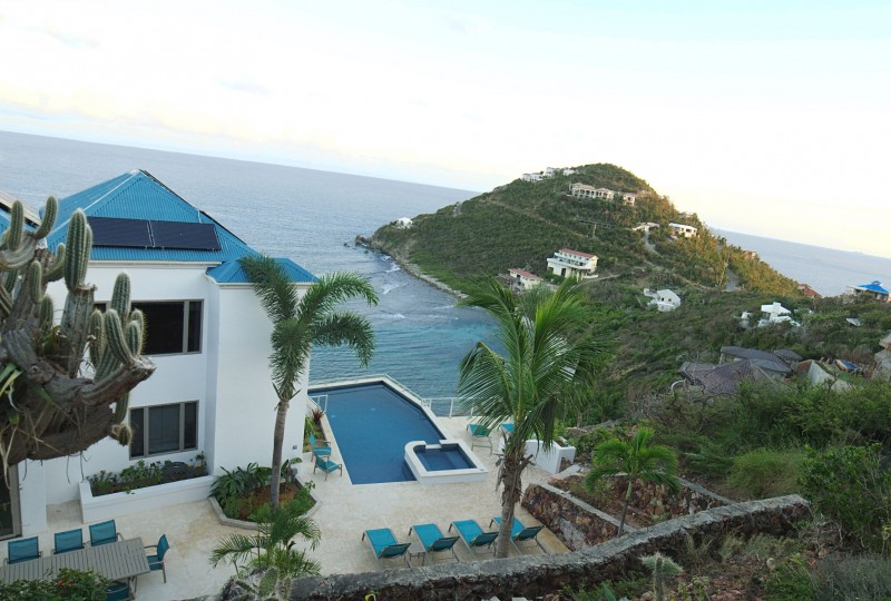 Oceanport Villa, St John aerial view pool and bay