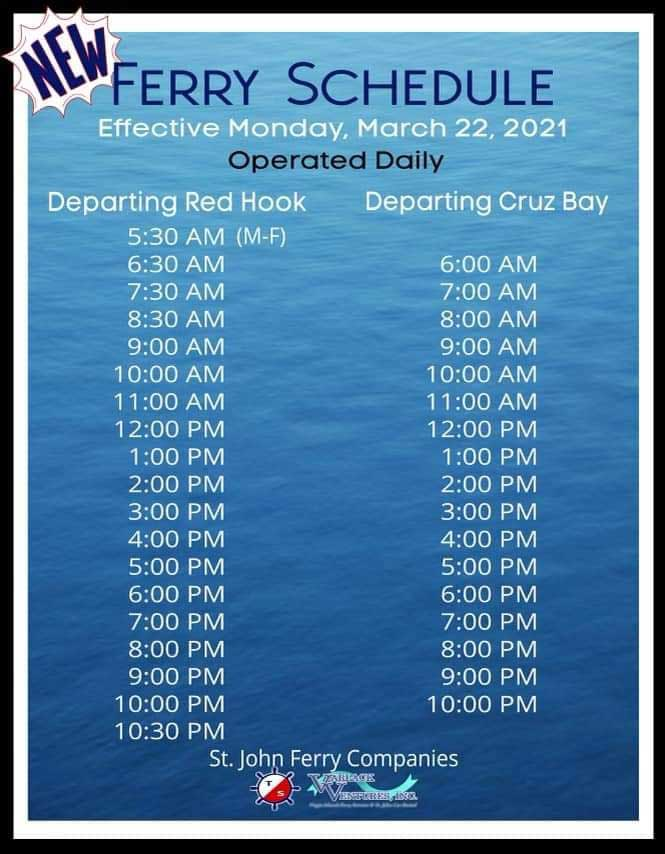 St Thomas to St John ferry schedule times Red Hook to Cruz Bay