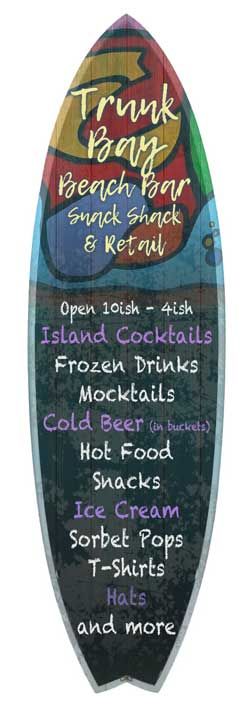Trunk Bay Beach food drink concessions